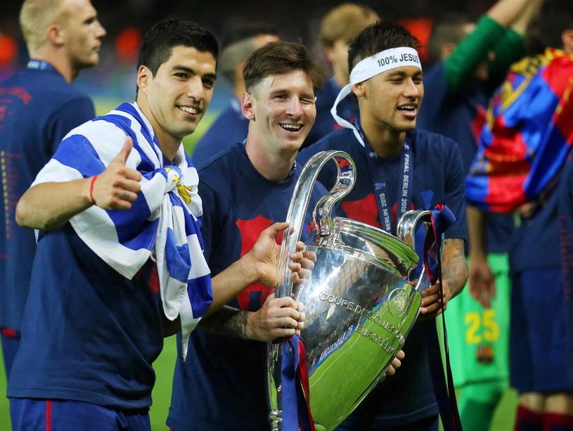 Trójząb Barcelony: Luis Suarez, Lionel Messi i Neymar /PAP/EPA