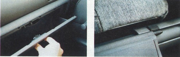 Trudny do zatrzaśnięcia schowek i roleta ocierająca się z głośnym piszczeniem o oparcie tylnej kanapy (na szczęście można ją przesunąć) to przypadłości niedrogiego samochodu. /Motor