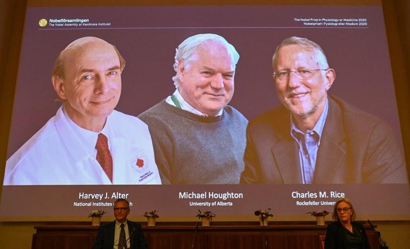 Trzech laureatów tegorocznego Nobla z medycyny: Harvey Alter, Michael Houghton i  Charles Rice /AFP