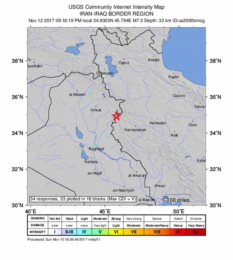 Trzęsienie ziemi miało magnitudę 7,3 /USGS / HANDOUT HANDOUT EDITORIAL USE ONLY /PAP/EPA