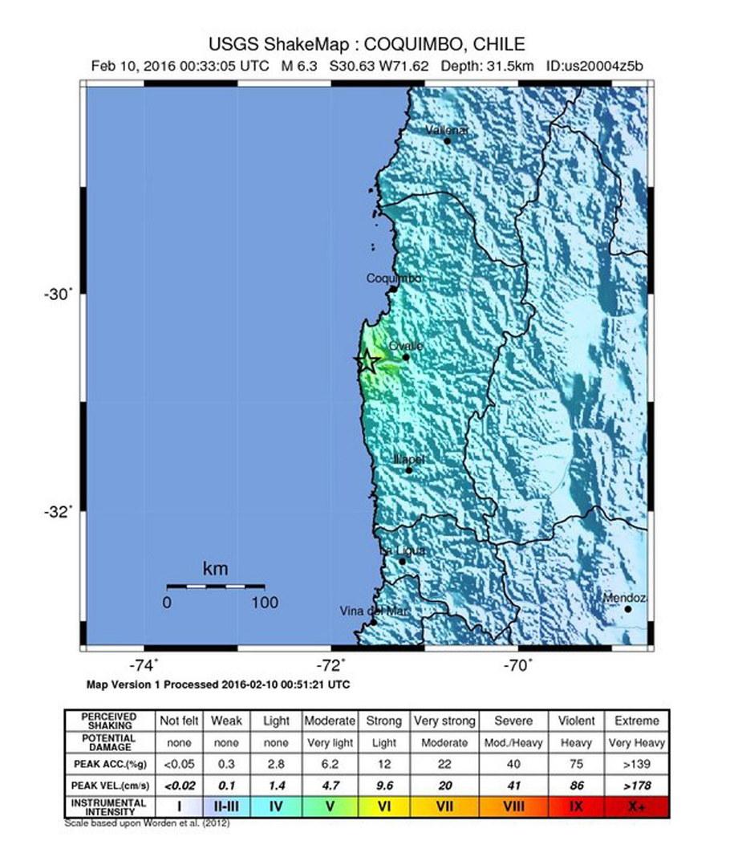Trzęsienie ziemi miało siłę 6,3 w skali Richtera /USGS /PAP/EPA