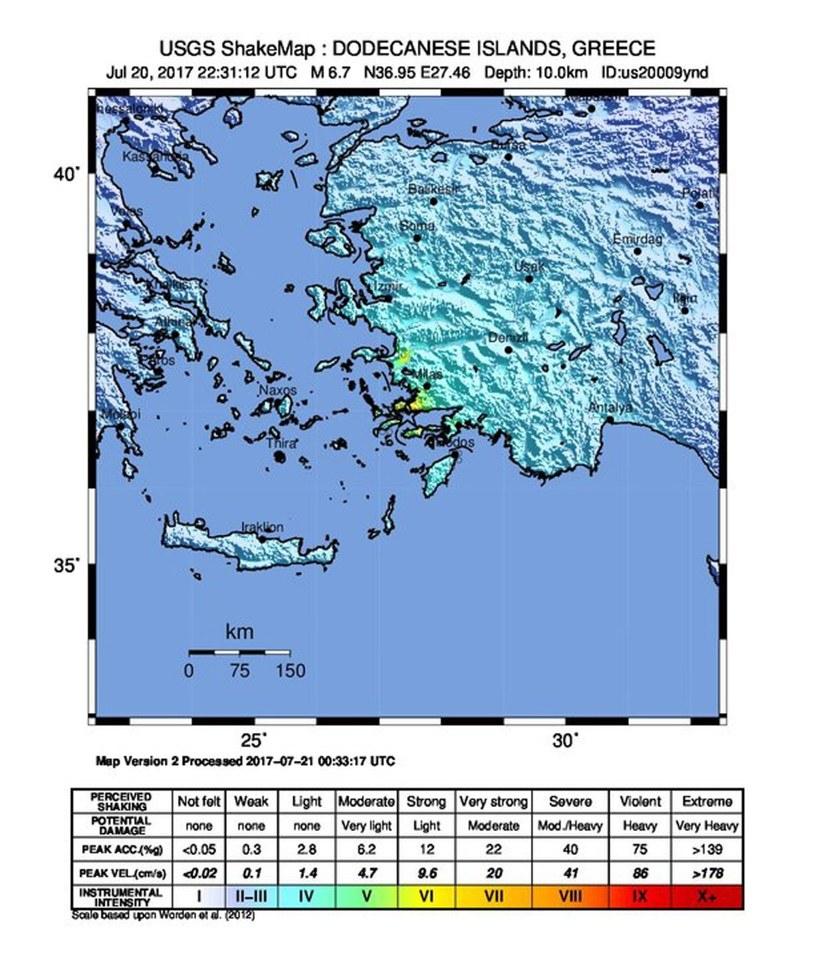Trzęsienie ziemi na Kos /USGS HANDOUT HANDOUT EDITORIAL USE ONLY /PAP/EPA