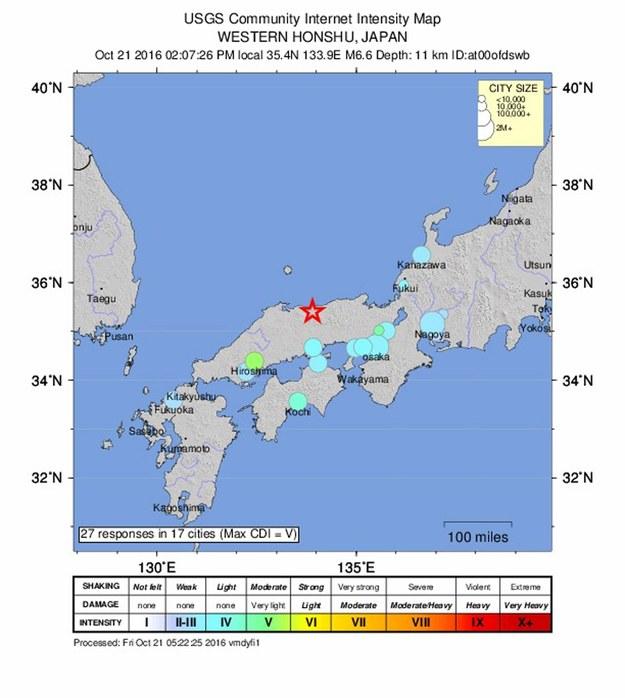 Trzęsienie ziemi o siele 6.6 st. w skali Richtera nawiedziło prefekturę Tottori w Japonii / PAP/EPA/USGS /PAP/EPA