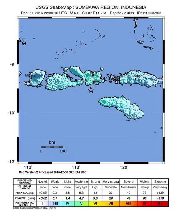 Trzęsienie ziemi o sile 6,2 st. nawiedziło rejon Sumbawa /UNITED STATES GEOLOGICAL SURVEY /PAP/EPA