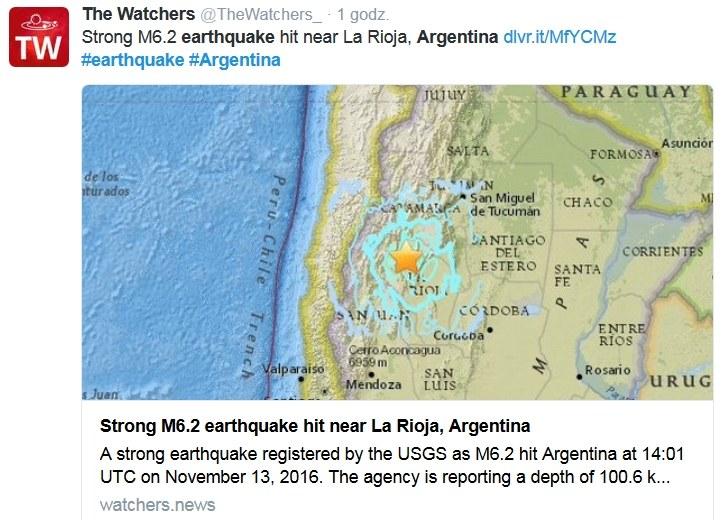 Trzęsienie ziemi w Argentynie /Twitter