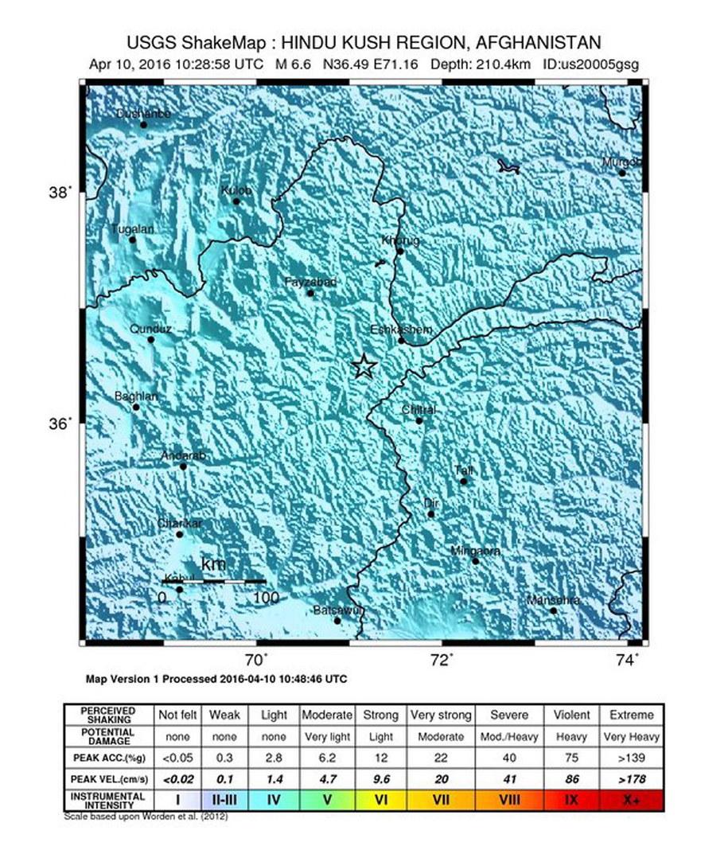 Trzęsienie ziemi w Pakistanie w pobliżu granicy z Afganistanem /US GEOLOGICAL SURVEY /PAP/EPA