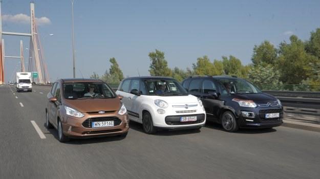Trzy pomysły na miejskiego minivana, czyli Citroen, Fiat i Ford. Najnowsze 500L jest największe spośród konkurentów. /Motor