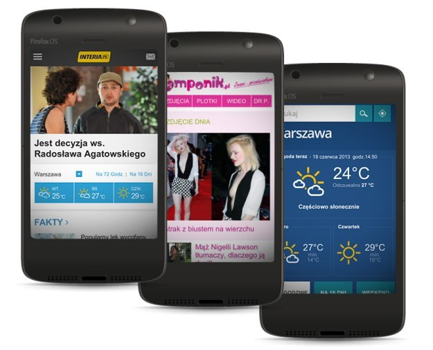Trzy z ośmiu przygotowanych przez INTERIA.PL aplikacji dla systemu Firefox OS - Informacje, Pomponik.pl oraz Pogoda /INTERIA.PL