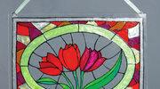 Tulipany malowane na szkle