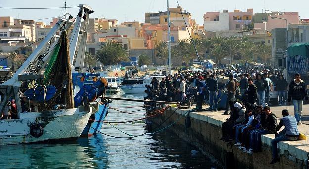 Tunezyjscy imigranci w porcie na Lampedusie /AFP