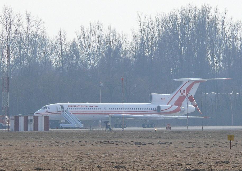 Tupolew 154M na lotnisku w Balicach.  /fot. Jan Latała /RMF FM