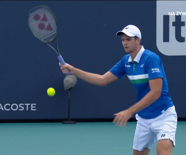 Turniej ATP Miami. Hubert Hurkacz - Jannik Sinner. Ładne zagranie Polaka (POLSAT SPORT). Wideo