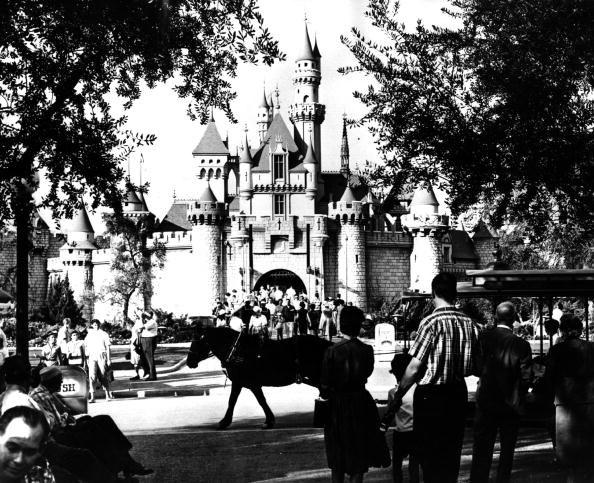 Turyści odwiedzający zamek Śpiącej Królewny w Disneylandzie /Getty Images