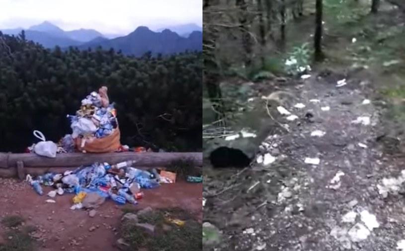 Turyści zapominają o zasadzie, by śmieci zabierać ze sobą /YouTube / Tygodnik Podhalański; Facebook / Aktualne warunki w górach /YouTube