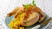 Tuszka z ryżem curry i rodzynkami