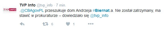 TVP Info informuje o przeszukaniu w domu Andrzeja Biernata /Twitter /