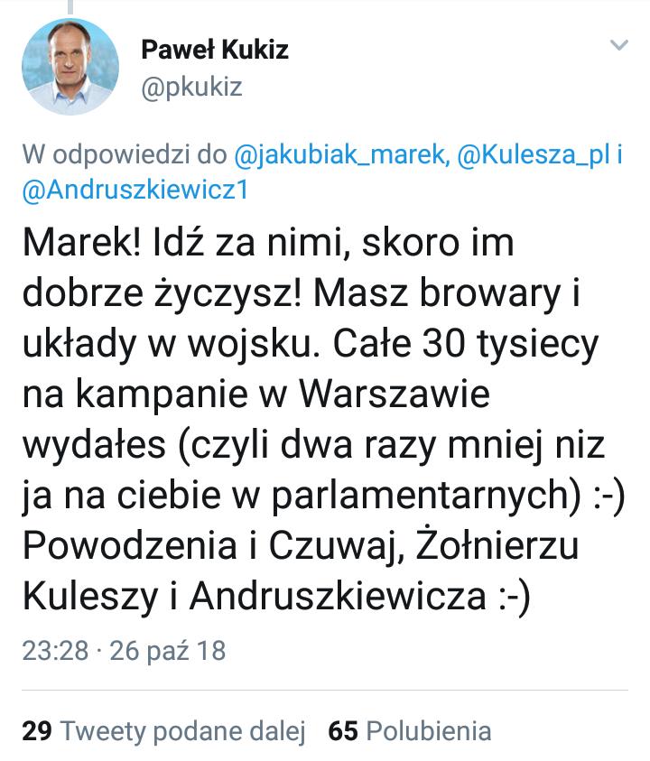 Tweet Pawła Kukiza opublikowany w odpowiedzi na wpis Marka Jakubiaka /Twitter /Zrzut ekranu