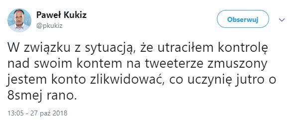 Tweet Pawła Kukiza /Twitter /Zrzut ekranu