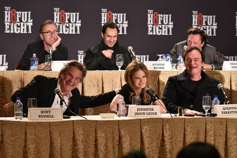 """Twórcy filmu """"Nienawistna ósemka"""" na konferencji prasowej w Nowym Joroku, grudzień 2015 /Bryan Bedder /Getty Images"""