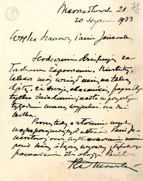 List Romana Dmowskiego do Władysława Sikorskiego. Odwołanie wizyty z powodu choroby; AAN, Akta Władysława Sikorskiego, sygn. 44