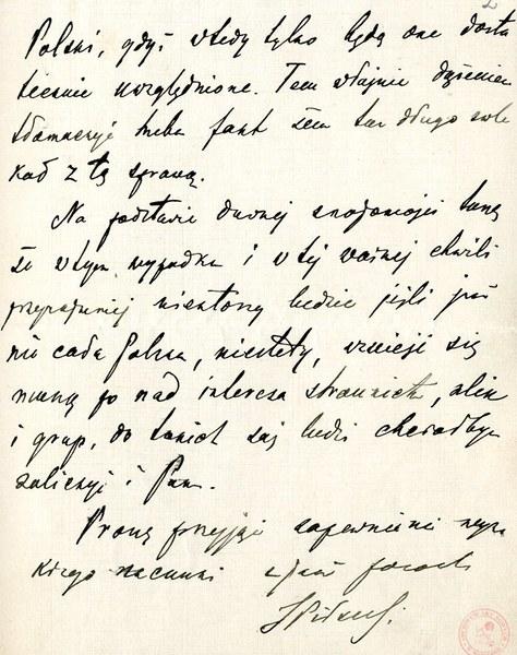 List Józefa Piłsudskiego do Romana Dmowskiego z 21 XII 1918 roku w sprawie jednolitej reprezentacji państwa polskiego w rozmowach z ententą; AAN, Komitet Narodowy Polski w Paryżu, sygn. 2223