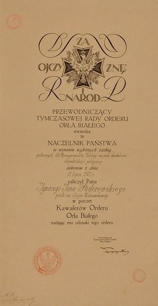 Dyplom Orderu Orła Białego; AAN, Archiwum Ignacego Jana Paderewskiego, sygn. 5