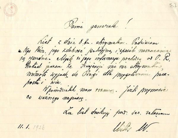 List Wincentego Witosa do Władysława Sikorskiego, 11 stycznia 1936 r.; AAN, Akta Władysława Sikorskiego, sygn. 169