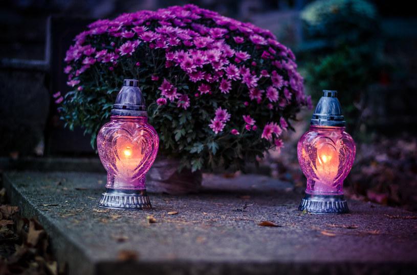 Tworząc dekorację grobu, warto wziąć pod uwagę nie tylko barwę kwiatów, ale także kolor zniczy i innych elementów /123RF/PICSEL