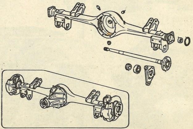 """Tylny most typu jugosłowiańskiego, który nadal stosowany będzie w limuzynach, przede wszystkim tych z silnikiem 1300 cm3. Pochwa stanowi jedną całość wykonaną z wytłoczek blaszanych, przekładnia główna wraz z mechanizmem różnicowym tworzy odejmowalną w całości """"główkę"""". /Motor"""