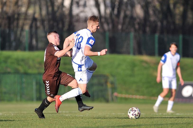 Tymoteusz Klupś w meczu Lech II Poznań - Garbarnia Kraków /Krzysztof Porebski / Newspix.pl   /Newspix