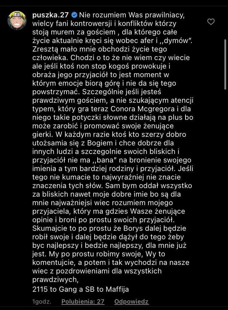 Tymoteusz Puchacz na Instagramie /