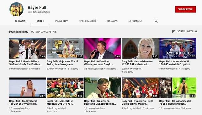 Tytuły teledysków Bayer Full na Youtube /