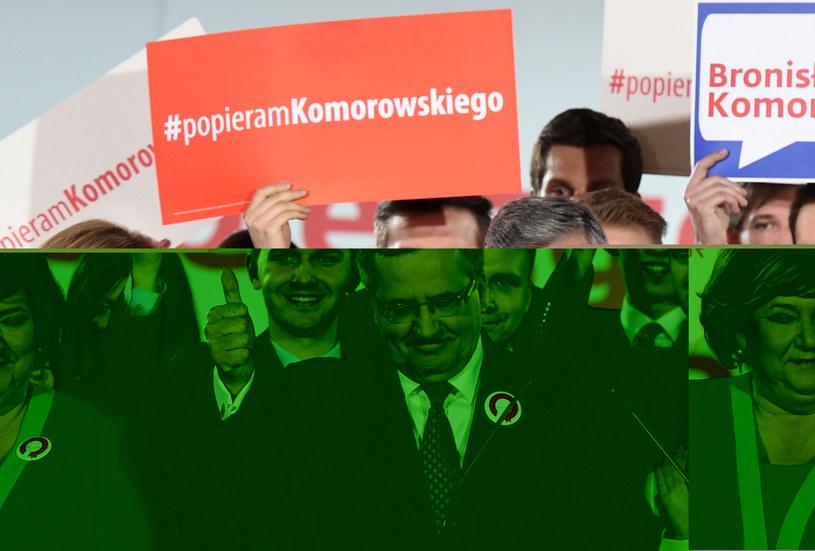 Ubiegający się o reelekcję prezydent Bronisław Komorowski z małżonką Anną /Paweł Supernak /PAP