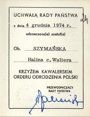 Uchwała Rady Państwa ws. odznaczenia dla Haliny Szymańskiej /z archiwum warszawskiego IPN /