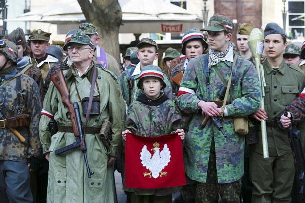 Uczestnicy II Krajowej Defilady Pamięci Żołnierzy Wyklętych w Gdańsku /Dominik Kulaszewicz /PAP