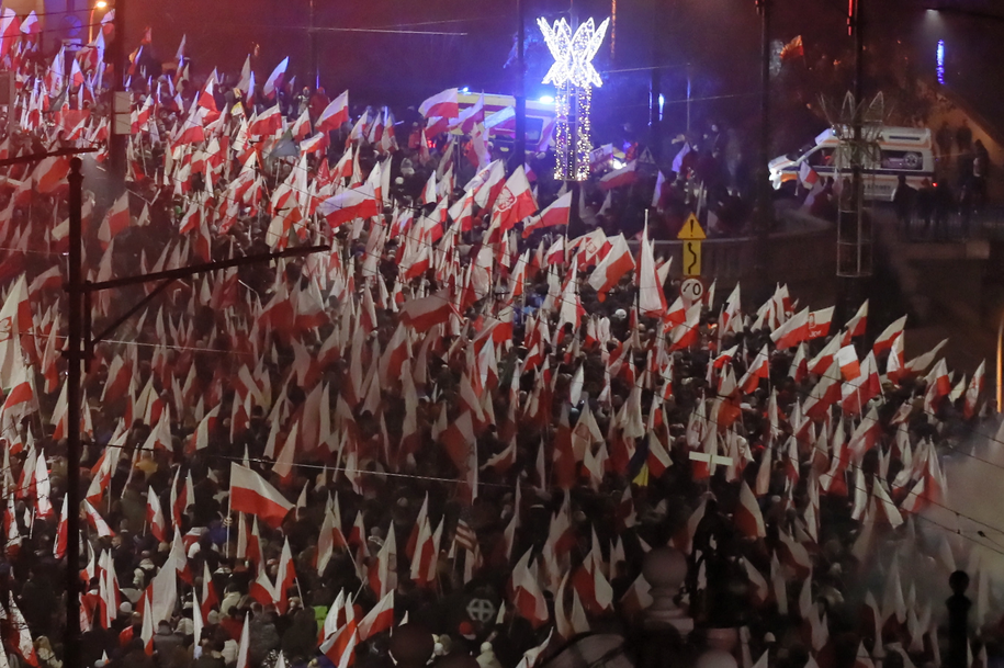 Uczestnicy Marszu Niepodległości środowisk narodowych /Paweł Supernak /PAP