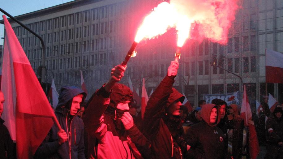 Uczestnicy Marszu Niepodległości w Warszawie /Michał Dukaczewski /RMF FM