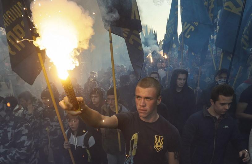 Uczestnicy marszu w Kijowie /PAP