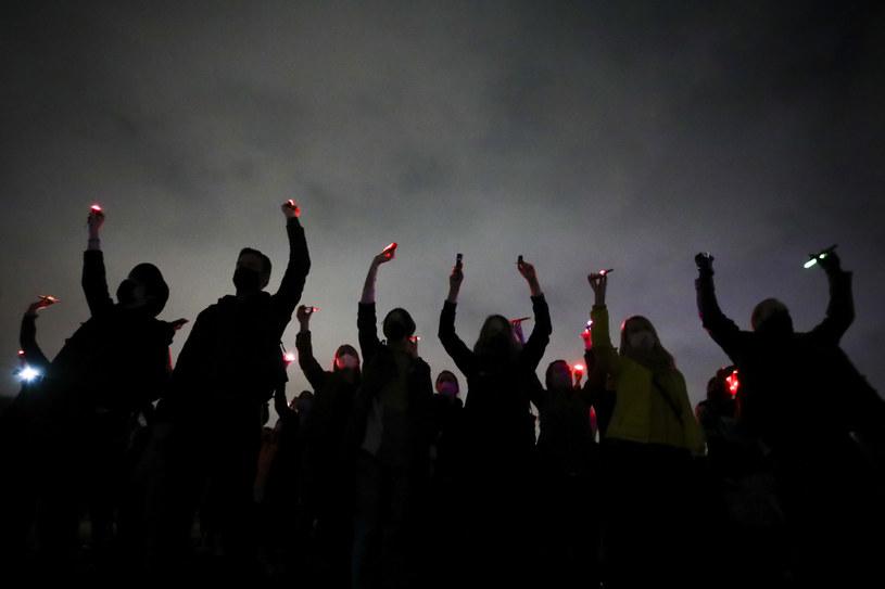 Uczestnicy protestu w Krakowie /Beata Zawrzel /Reporter