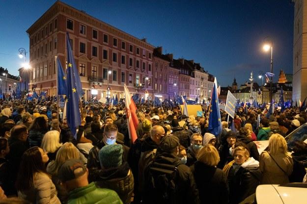 Uczestnicy protestu w Warszawie /Michał Dukaczewski /RMF FM