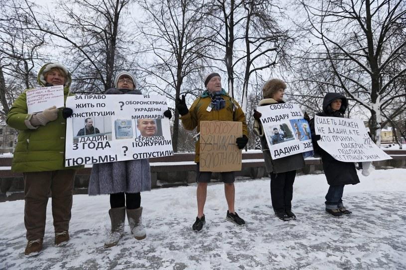 Uczestnicy protestu /YURI KOCHETKOV /PAP/EPA