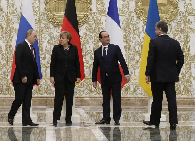 Uczestnicy rozmów w Mińsku /AFP