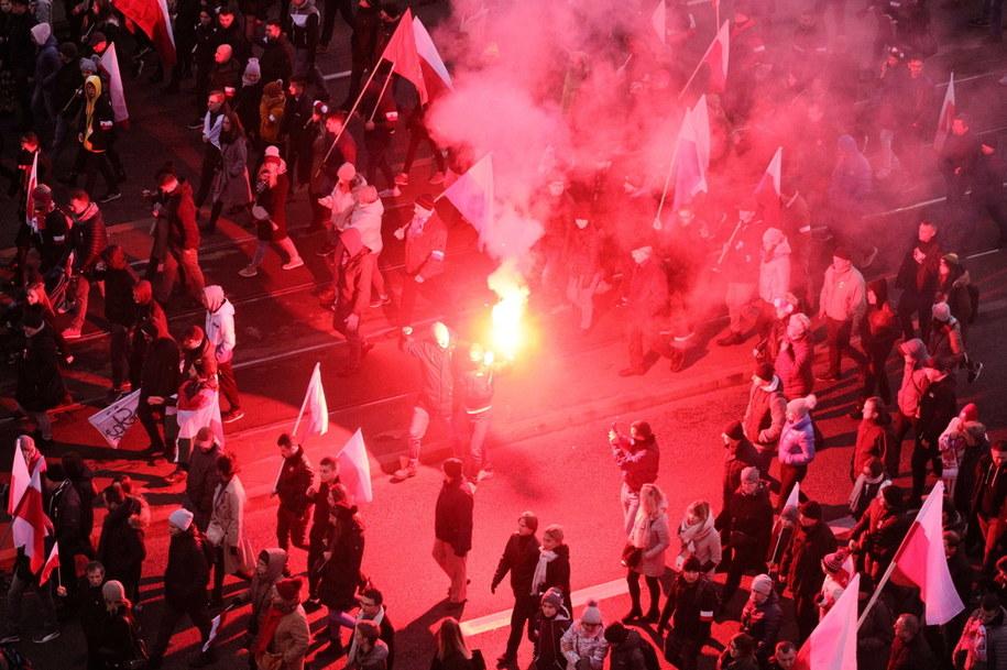 Uczestnicy ubiegłorocznego Marszu Niepodległości /Paweł Supernak /PAP