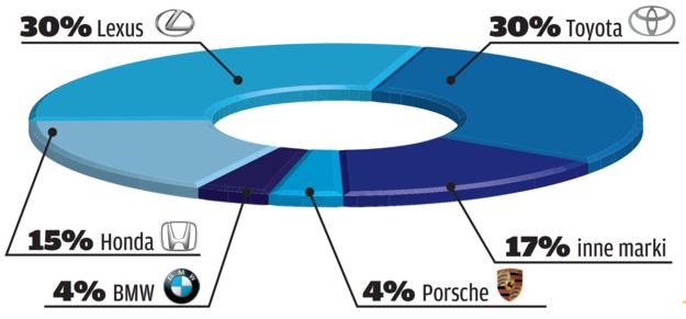 Udział producentów aut hybrydowych na rynku wtórnym /Motor