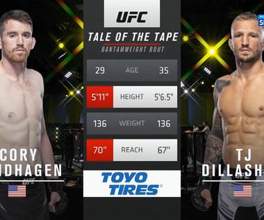 UFC Vegas 32. W walce wieczoru T.J. Dillashaw pokonał Cory'ego Sandhagena (POLSAT SPORT). Wideo