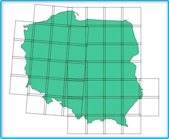 Układ poszczególnych scen mapy pokrycia terenu Polski /
