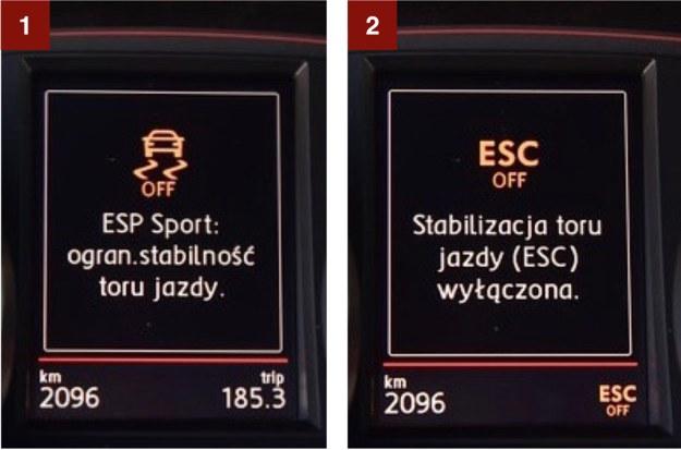 Układ stabilizacji toru jazdy ESC ma trzy ustawienia: w pełni aktywny, sportowy [1]  (reaguje później) oraz wyłączony [2]. /Motor