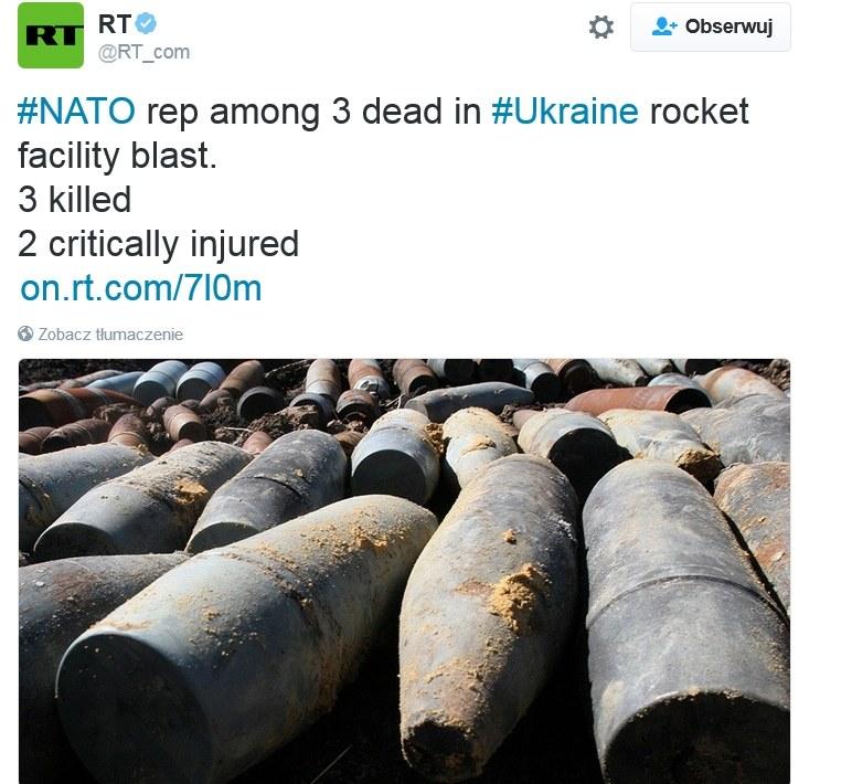 Ukraina: W eksplozji zginął przedstawiciel NATO /Twitter