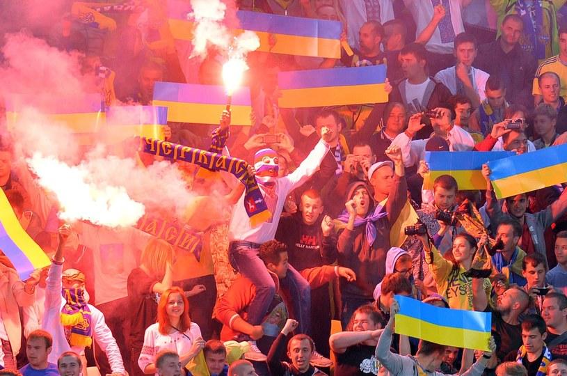 Ukraińscy fani podczas meczu z San Marino /AFP