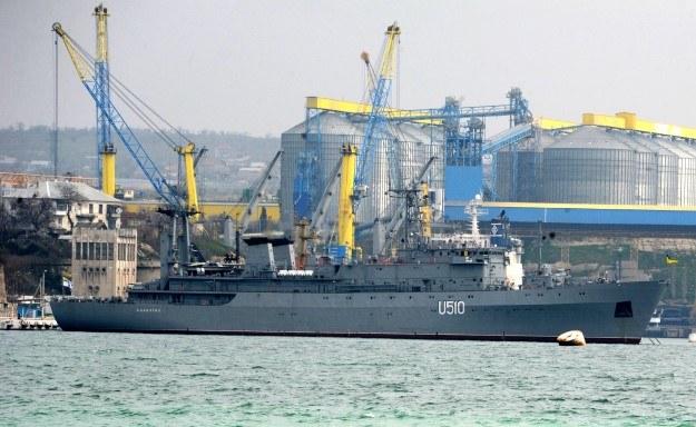 "Ukraiński okręt ""Slavutich"" w Sewastopolu /AFP"